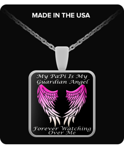 Papi Guardian Angel Square Pendant - Pink
