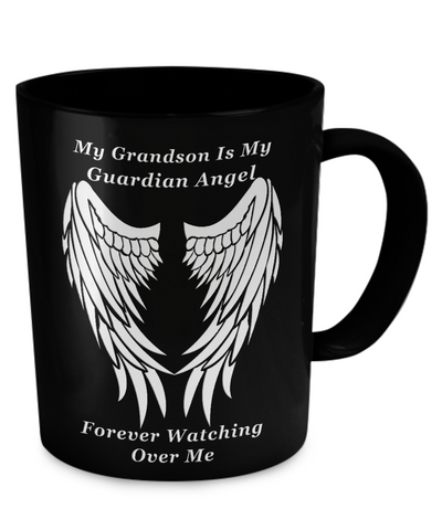 Grandson Guardian Angel Black Mug