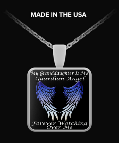 Granddaughter Guardian Angel Square Pendant - Blue