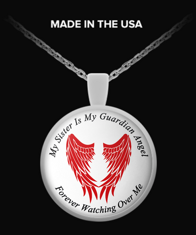 Sister Guardian Angel Round Pendant