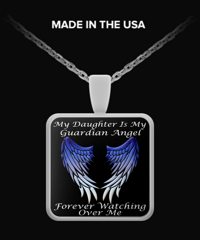 Daughter Guardian Angel Square Pendant - Blue