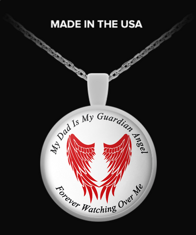 Dad Guardian Angel Round Pendant