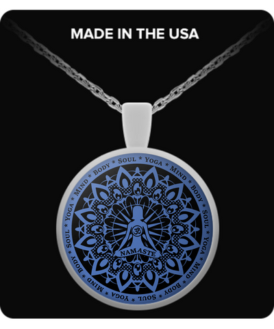 Yoga Namaste Blue Necklace