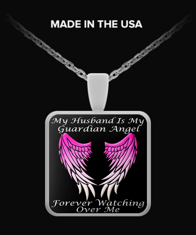 Husband Guardian Angel Square Pendant - Pink