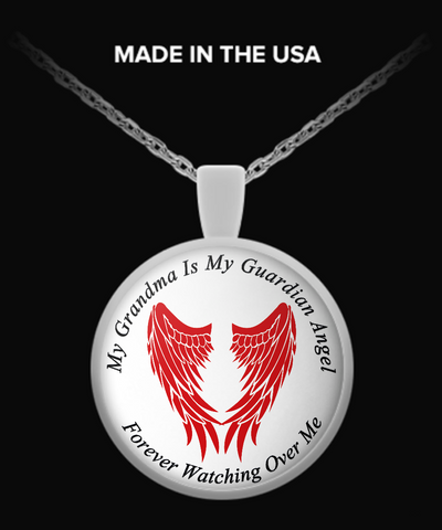 Grandma Guardian Angel Round Pendant