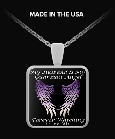 Husband Guardian Angel Square Pendant