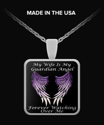 Wife Guardian Angel Square Pendant