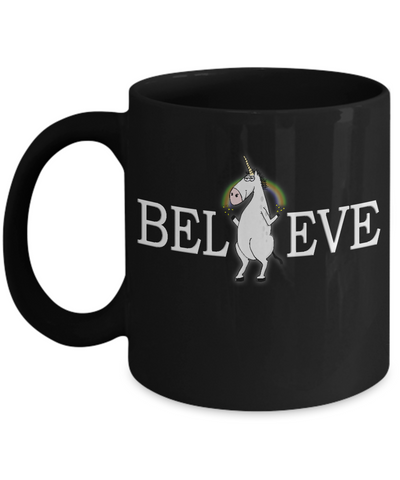 Unicorn Believe Coffee Mug Magical With Rainbow