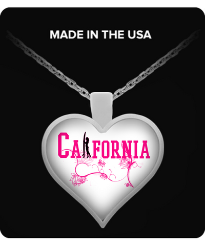 California Surfer Girl Heart Pendant