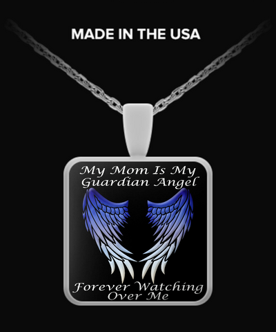 Mom Guardian Angel Square Pendant - Blue