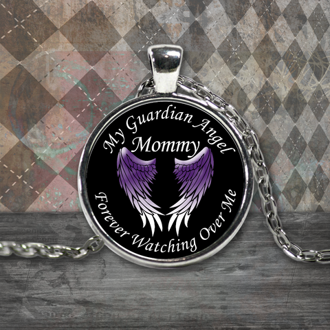 Mommy Guardian Angel Round Pendant Purple