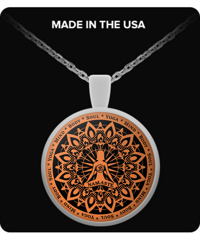 Yoga Namaste Orange Necklace