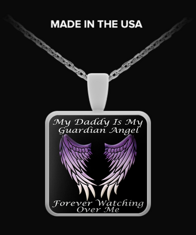 Daddy Guardian Angel Square Pendant - Purple