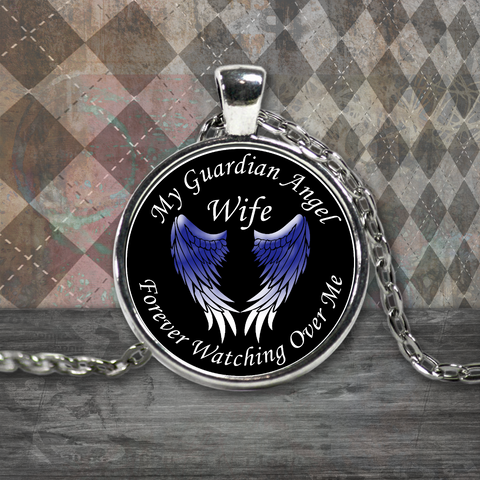 Wife Guardian Angel Round Pendant Blue