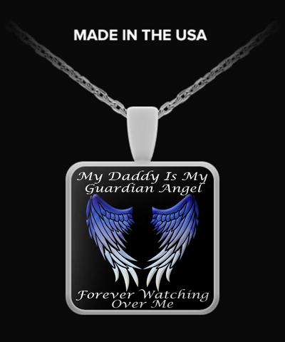 Daddy Guardian Angel Square Pendant - Blue