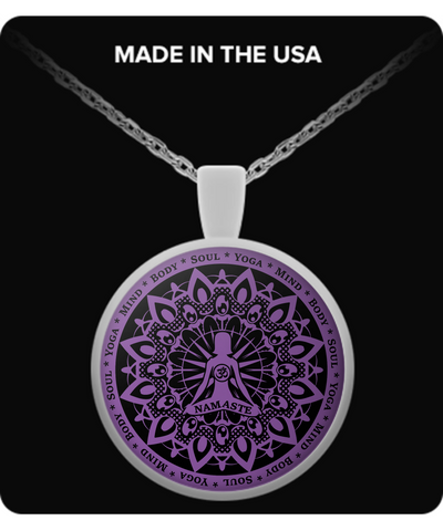 Yoga Namaste Purple Necklace