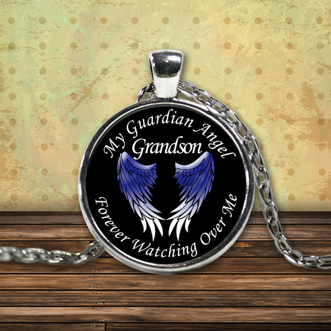 Grandson Guardian Angel Round Pendant Blue