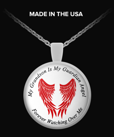 Grandson Guardian Angel Round Pendant