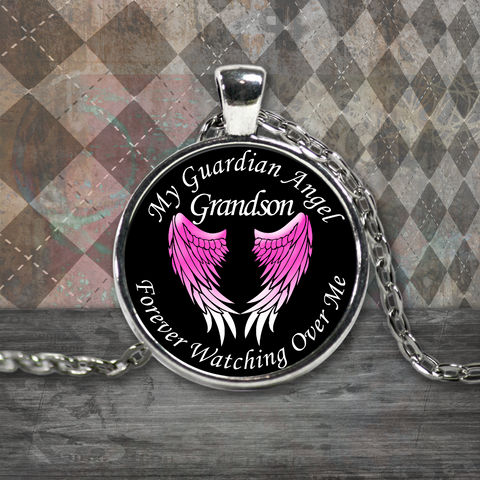 Grandson Guardian Angel Round Pendant Pink