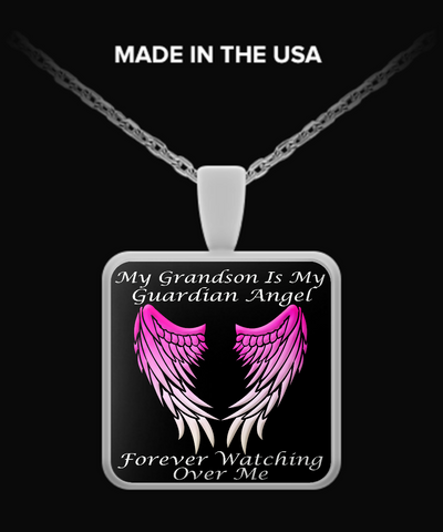Grandson Guardian Angel Square Pendant - Pink