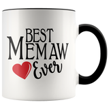 Best Memaw Ever 11 oz Accent Coffee Mug - Cute Gift for Memaw