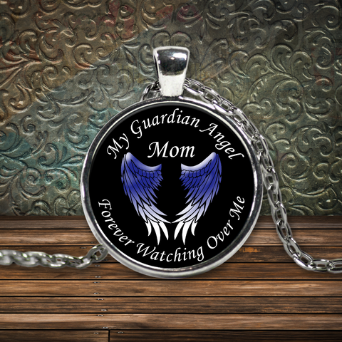 Mom Guardian Angel Round Pendant Blue