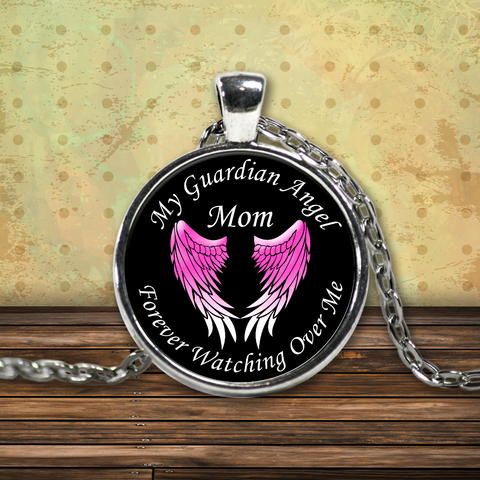 Mom Guardian Angel Round Pendant Pink