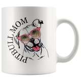 Pitbull Mom 11 oz White Coffee Mug - Cute Pitbull Wearing Gun Glasses