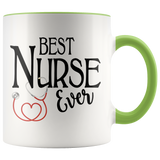 Best Nurse Ever 11 oz Accent Coffee Mug