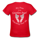 Aunt Guardian Angel Gildan Ultra Cotton Ladies T-Shirt (CK1352) - red