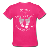 Aunt Guardian Angel Gildan Ultra Cotton Ladies T-Shirt (CK1352) - fuchsia