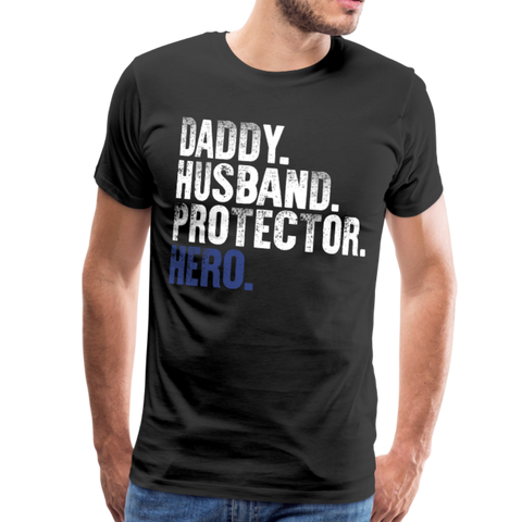 Daddy Husband Protector Hero Blue Men's Premium T-Shirt (CK1493) - black
