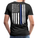 Dad Husband Protector Hero Flag on back Thin Blue Line Men's Premium T-Shirt (CK1921) - black