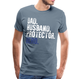Dad Husband Protector Hero Flag on back Thin Blue Line Men's Premium T-Shirt (CK1921) - steel blue