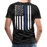 Dad Husband Protector Hero Flag on back Thin Blue Line Men's Premium T-Shirt (CK1921) - charcoal gray