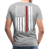 Daddy Husband Protector Hero - American Flag Men's Premium T-Shirt (CK1926) - heather gray