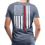 Daddy Husband Protector Hero - American Flag Men's Premium T-Shirt (CK1926) - heather blue