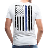Daddy Husband Protector Hero American Blue Line Flag Back Men's Premium T-Shirt (CK1872) - white