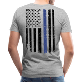 Daddy Husband Protector Hero American Blue Line Flag Back Men's Premium T-Shirt (CK1872) - heather gray