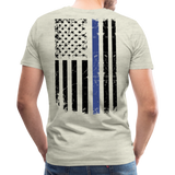 Daddy Husband Protector Hero American Blue Line Flag Back Men's Premium T-Shirt (CK1872) - heather oatmeal