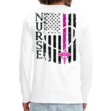 Nurse Flag Men's Premium Long Sleeve T-Shirt (CK1670) Updated+ - white