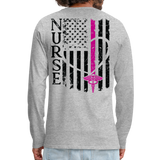 Nurse Flag Men's Premium Long Sleeve T-Shirt (CK1670) Updated+ - heather gray