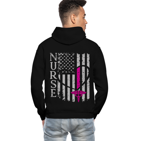 Nurse Flag Gildan Heavy Blend Adult Hoodie (CK1389 Updated) - black