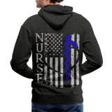 Rod of Asclepius Nurse Flag Men's Premium Hoodie - charcoal gray