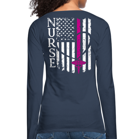 Nurse Flag Women's Premium Long Sleeve T-Shirt (CK1674) Updated+ - navy
