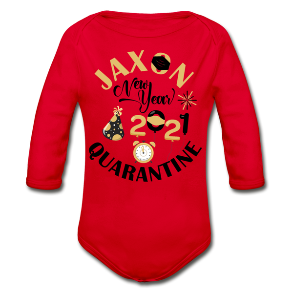 Jaxon New Year Organic Long Sleeve Baby Bodysuit - red