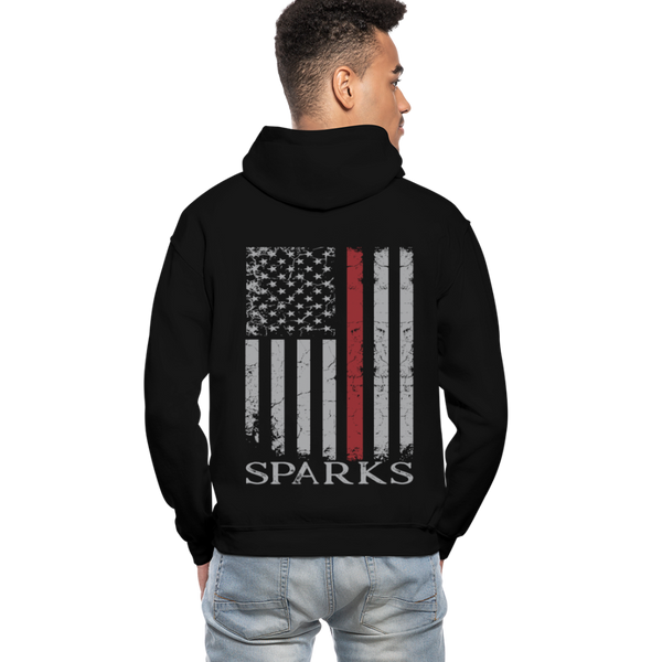 Sparks Firefighter Flag Gildan Heavy Blend Adult Hoodie - black