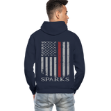 Sparks Firefighter Flag Gildan Heavy Blend Adult Hoodie - navy