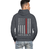 Sparks Firefighter Flag Gildan Heavy Blend Adult Hoodie - charcoal gray