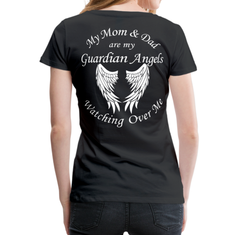Mom and Dad Guardian Angel Women's Premium T-Shirt (CK3581) - black